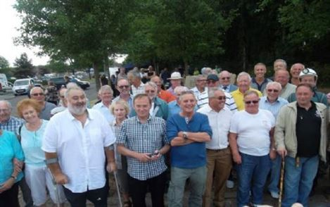 Group of Agecroft's former miners at the unveiling of the monument.