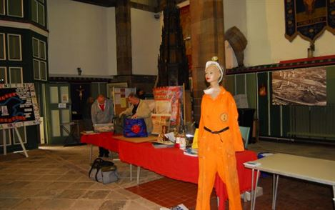 Manikin wearing miners uniform.