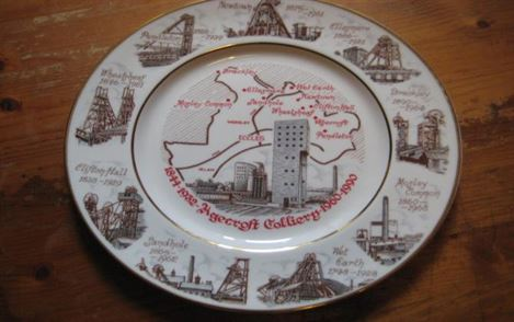 Commemorative plate of Agecroft colliery 1844-1932  1960-1990